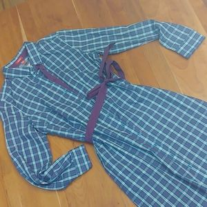 IZOD Womens plaid blue shirt dress